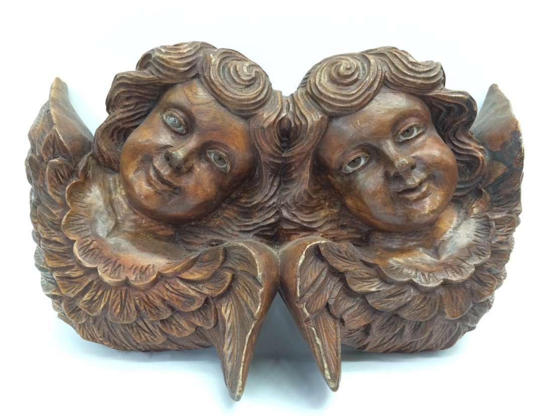 Carved Wood Twin Angel with Glass Eyes