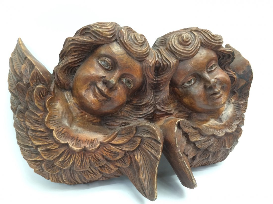 Carved Wood Twin Angel with Glass Eyes - 2