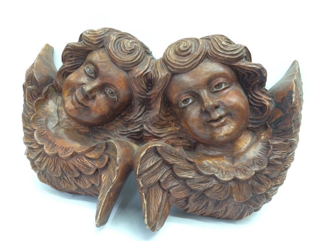 Carved Wood Twin Angel with Glass Eyes - 3
