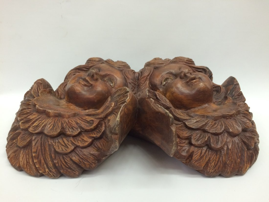 Carved Wood Twin Angel with Glass Eyes - 5