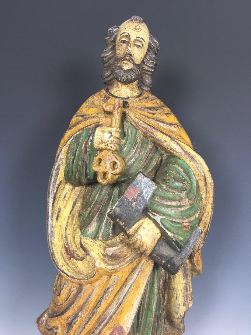 Carved Wood Saint Peter - 5