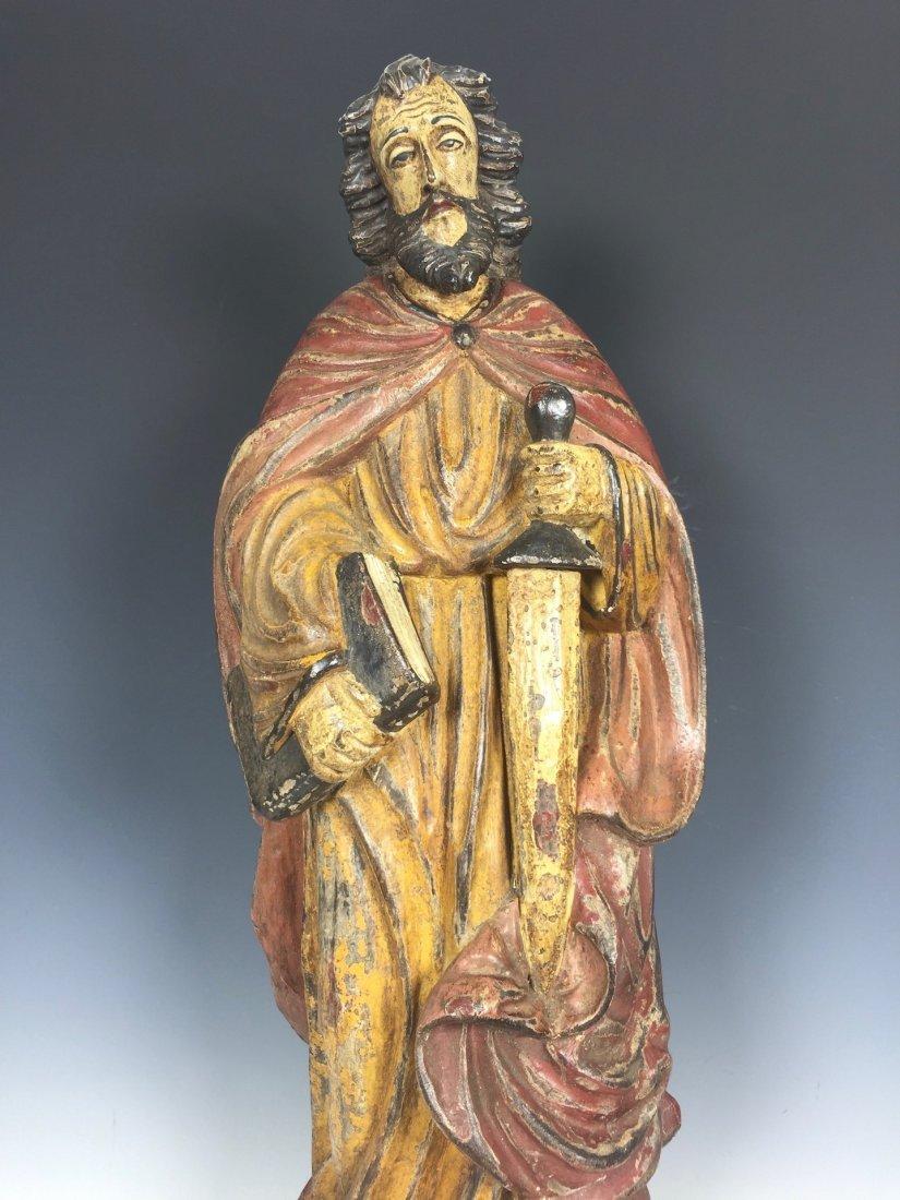 Carved Wood Saint Bartolomew - 2