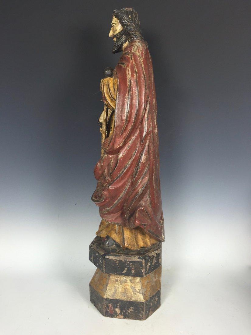 Carved Wood Saint Bartolomew - 5
