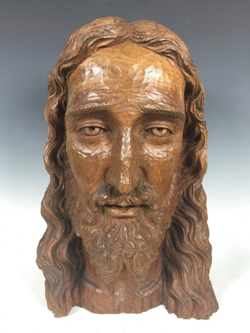 Carved Wood Head Of Jesus Christ