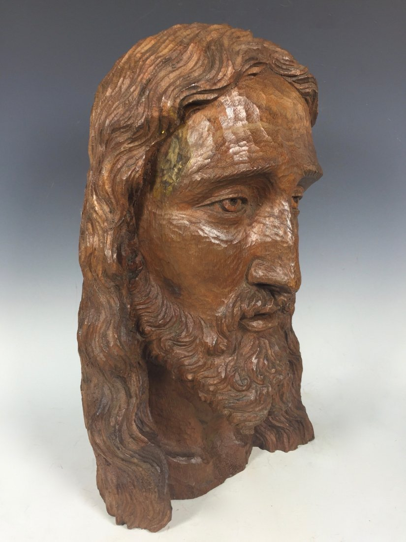 Carved Wood Head Of Jesus Christ - 2