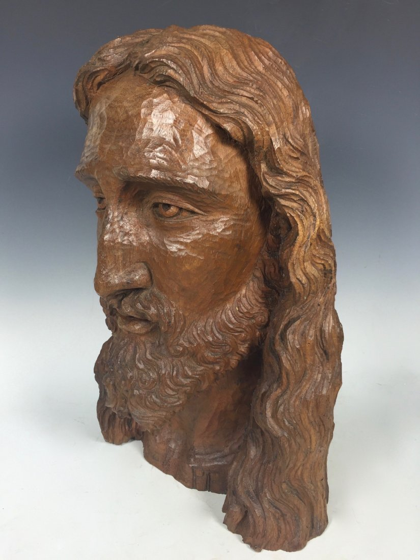 Carved Wood Head Of Jesus Christ - 3