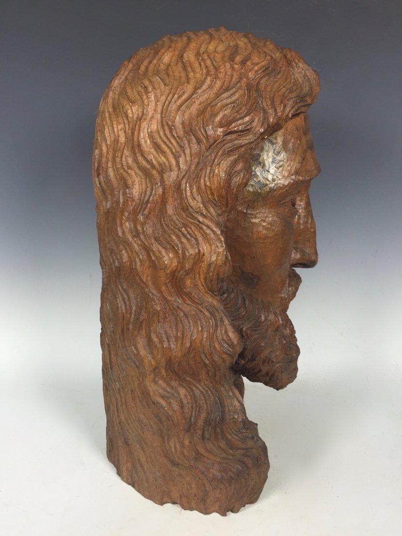 Carved Wood Head Of Jesus Christ - 5
