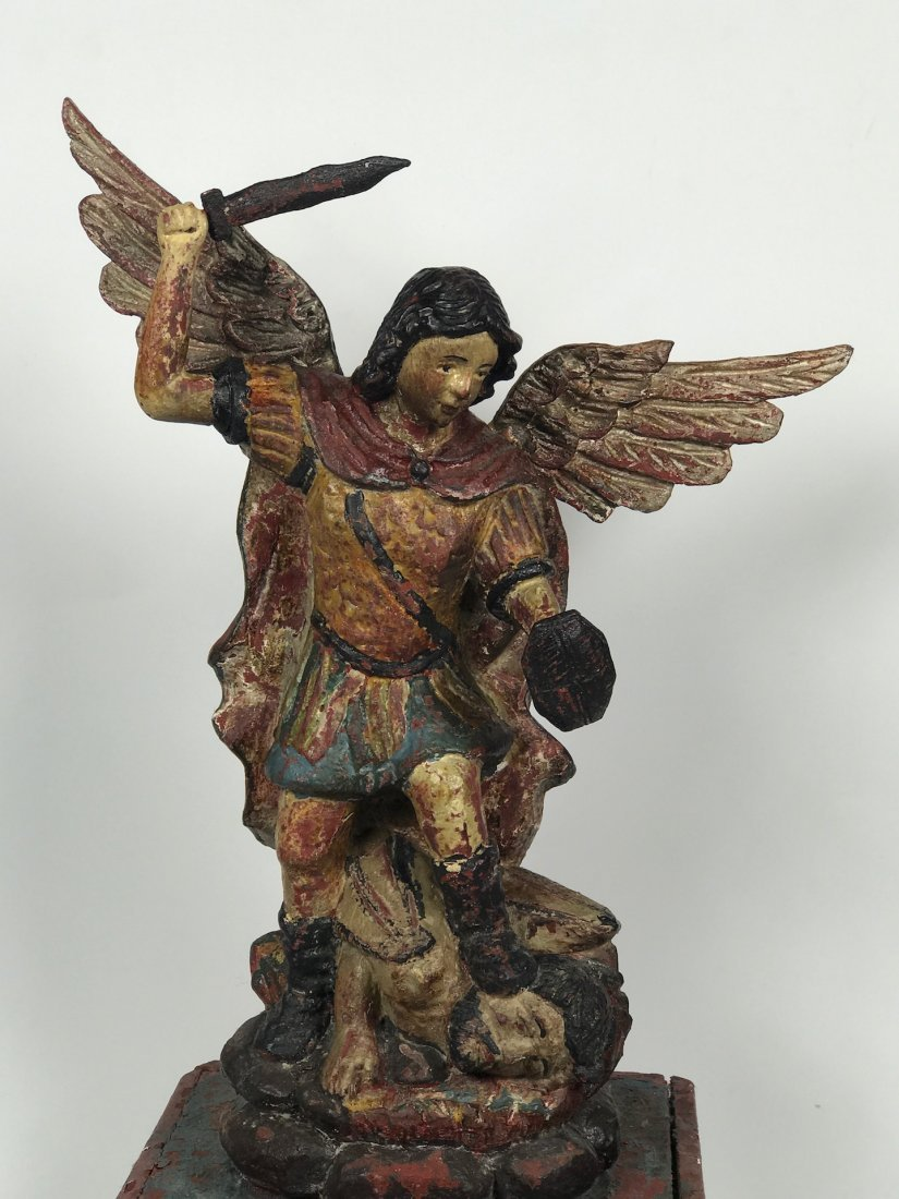 Carved Wood Saint Michael Archangel - 2