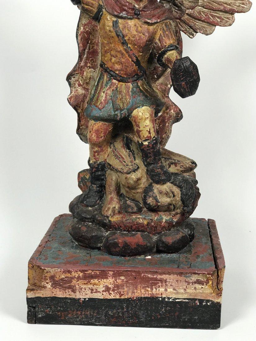 Carved Wood Saint Michael Archangel - 3