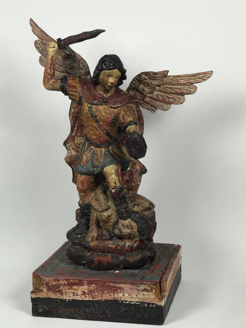 Carved Wood Saint Michael Archangel - 4