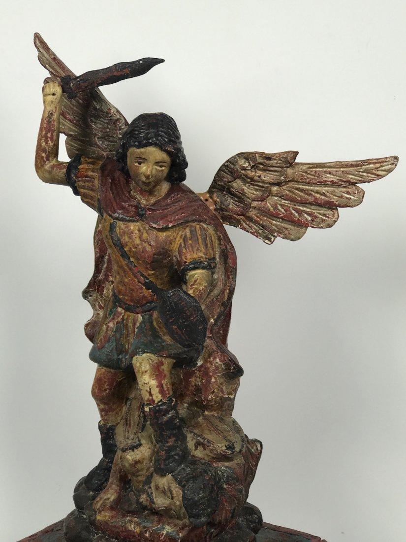 Carved Wood Saint Michael Archangel - 5