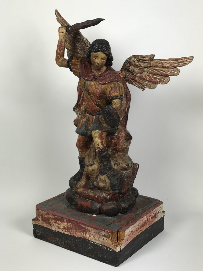 Carved Wood Saint Michael Archangel - 6