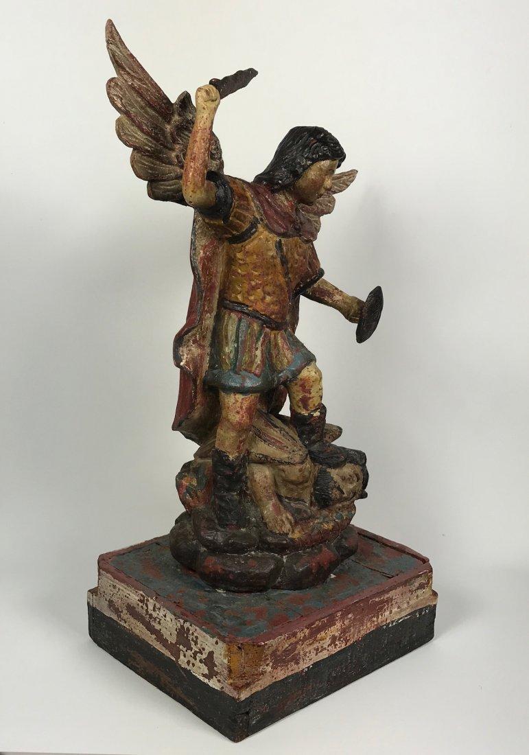 Carved Wood Saint Michael Archangel - 7