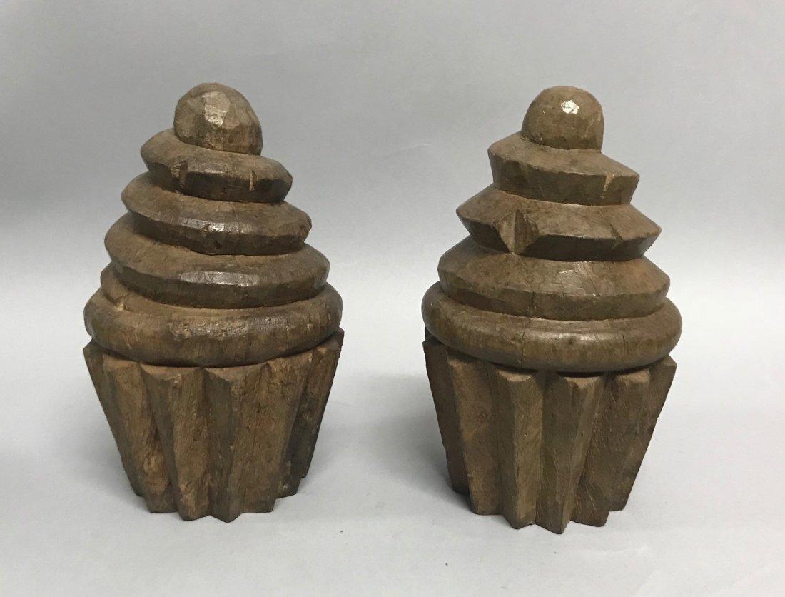 Carved Wood Pair of Cupcake