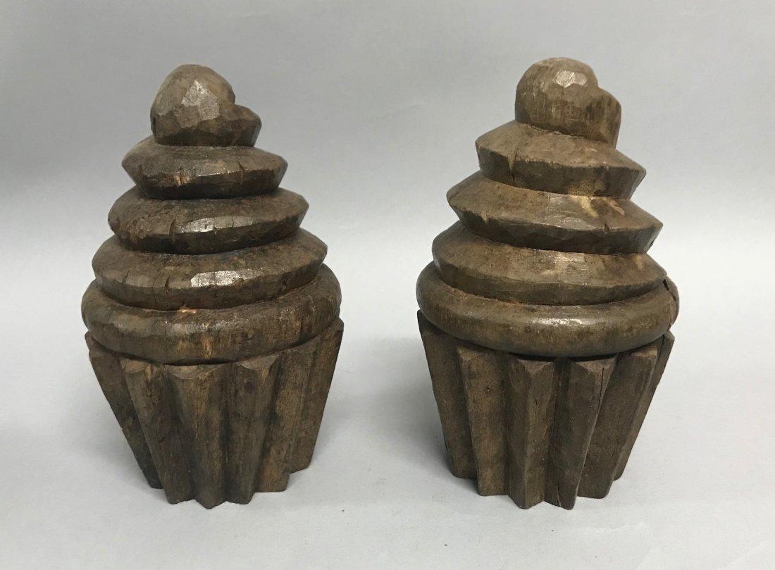 Carved Wood Pair of Cupcake - 2