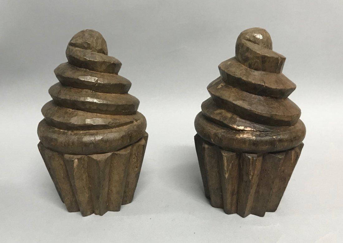 Carved Wood Pair of Cupcake - 3