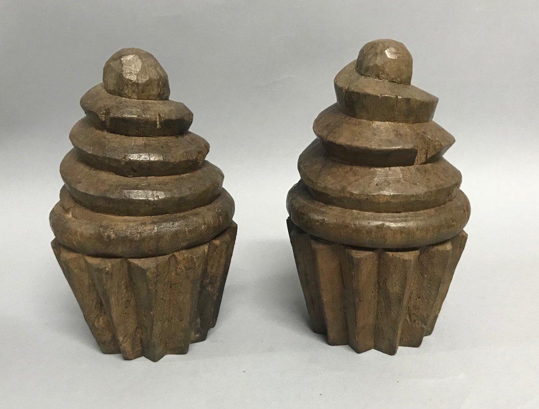 Carved Wood Pair of Cupcake - 4