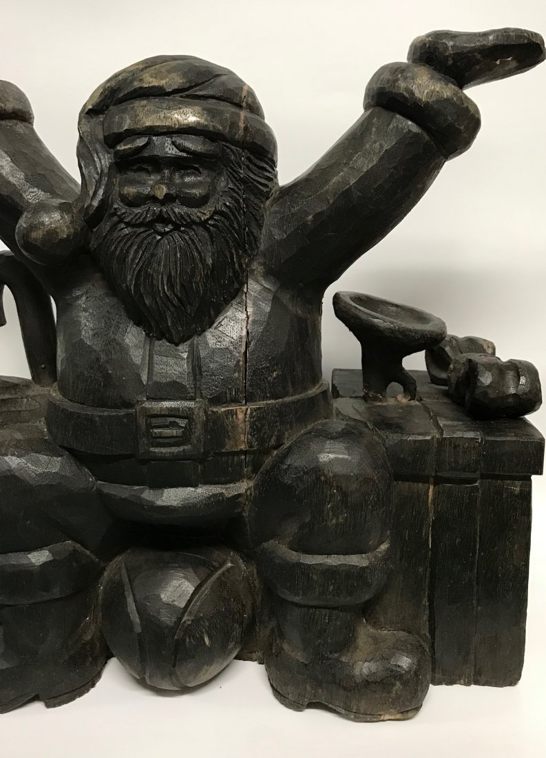 Carved Wood Large Santa Claus Sculpture - 2