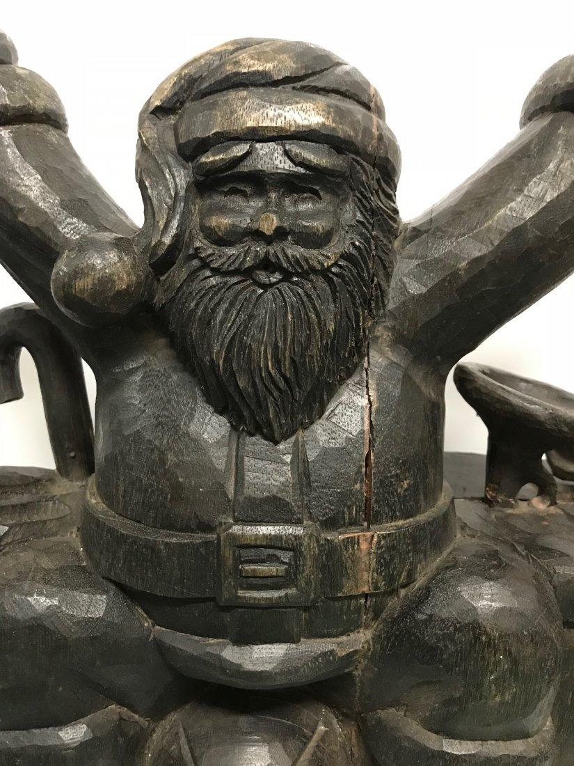 Carved Wood Large Santa Claus Sculpture - 7