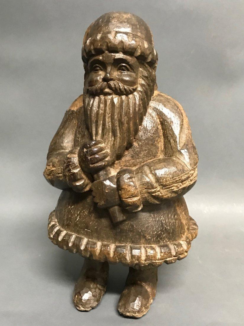 Carved Wood Santa Claus - 7