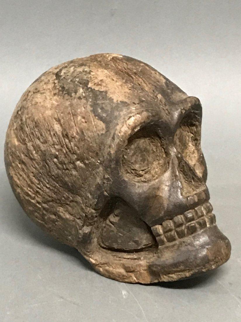 Carved Wood Skull - 2