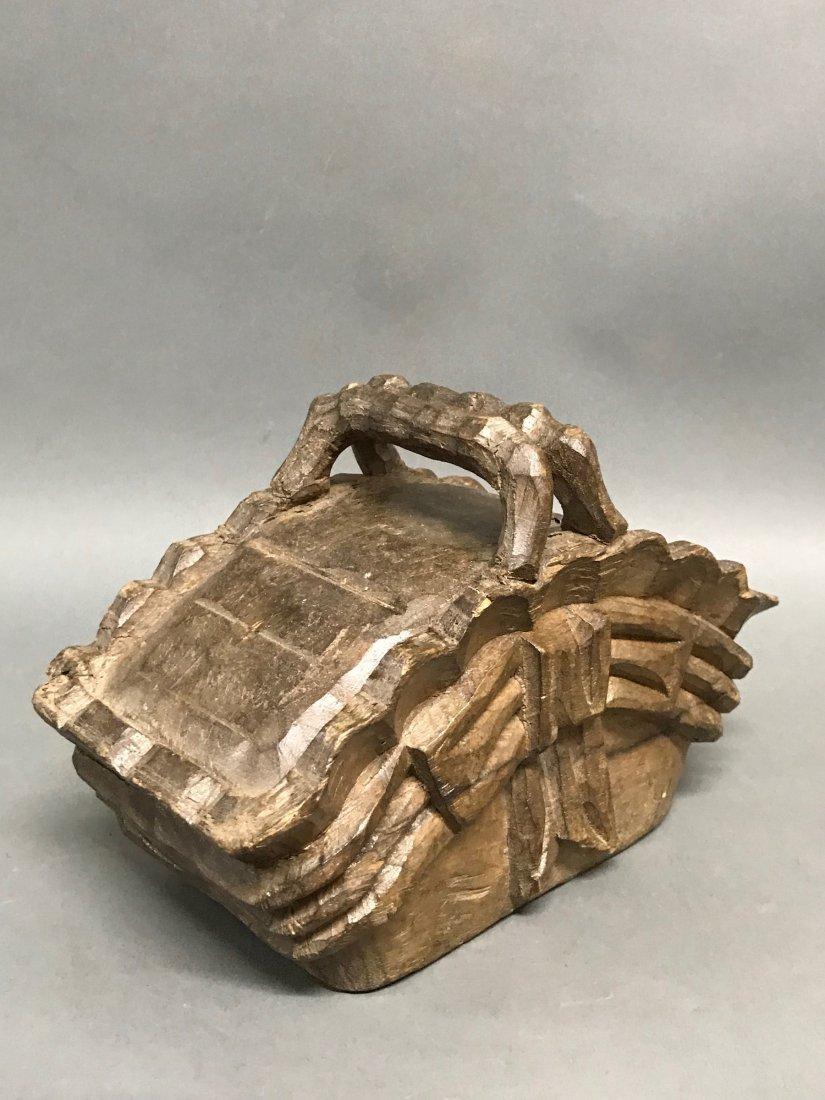 Carved Wood Basket - 2