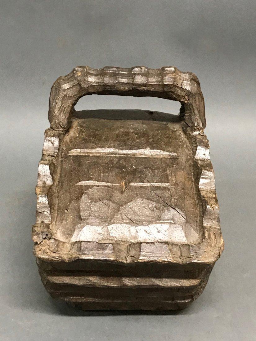 Carved Wood Basket - 3