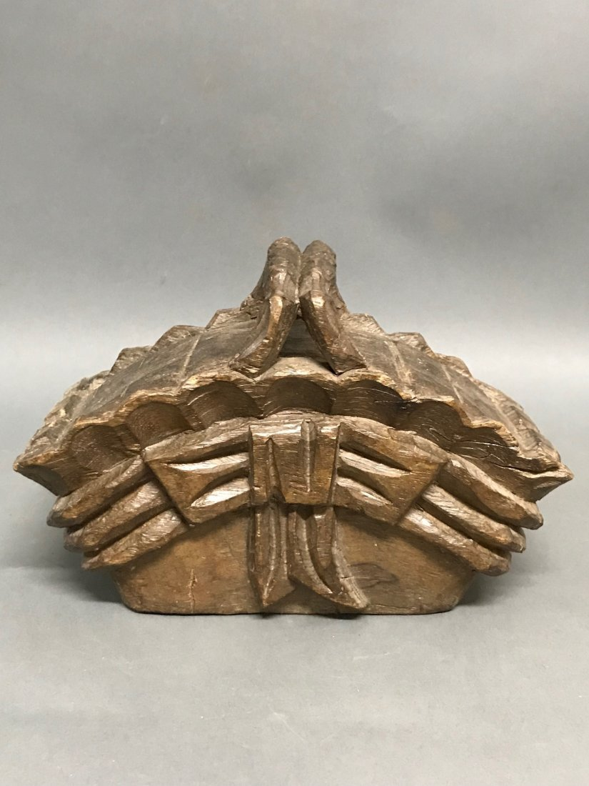 Carved Wood Basket - 4