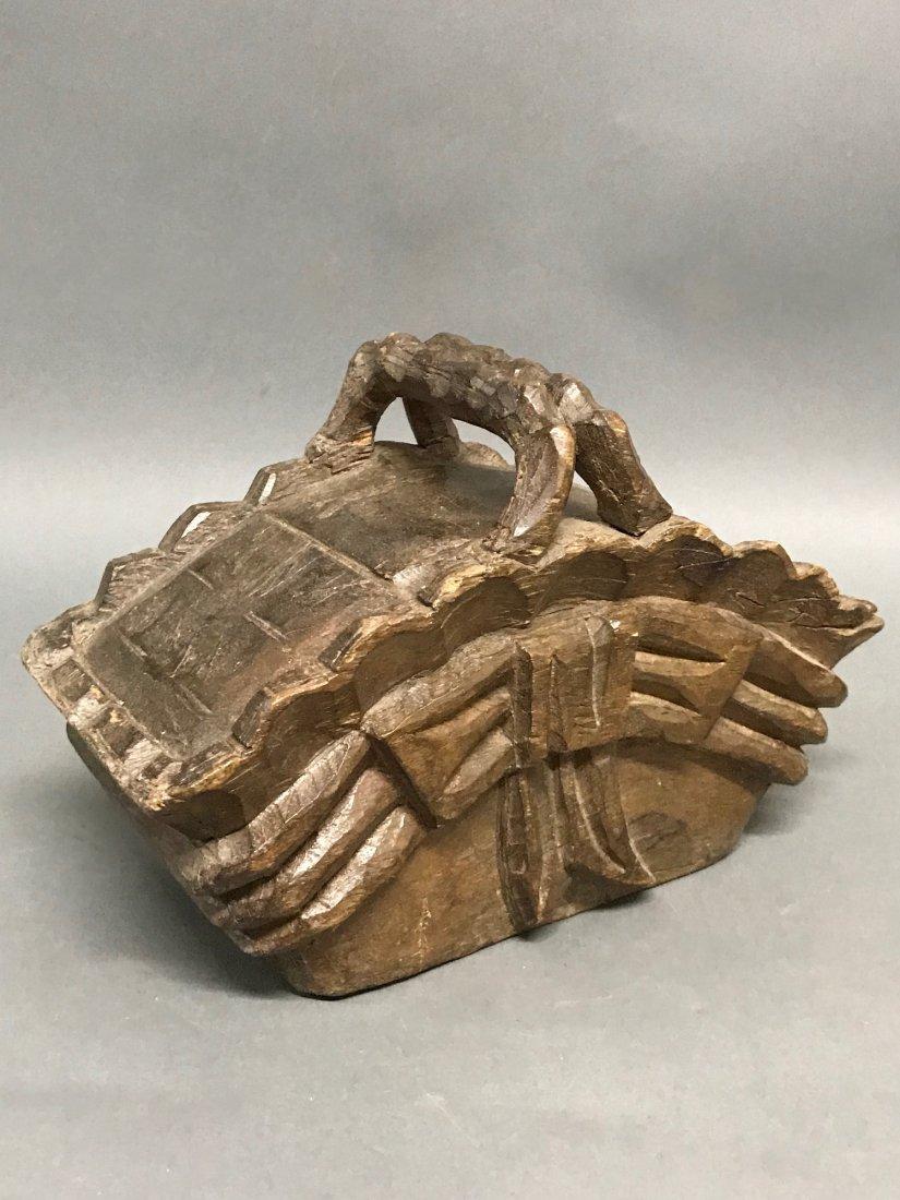 Carved Wood Basket - 5