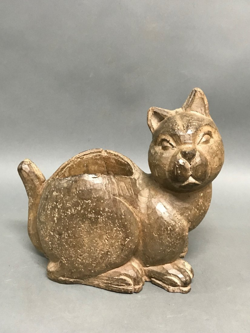 Carved Wood Cat Container