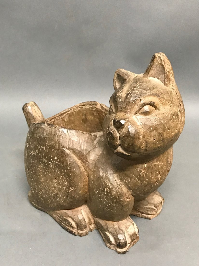 Carved Wood Cat Container - 4