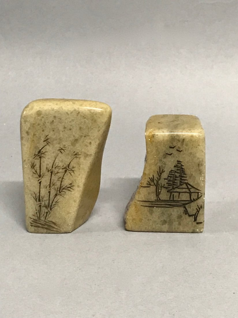 Pair of Soapstone Seal/Chop - 4