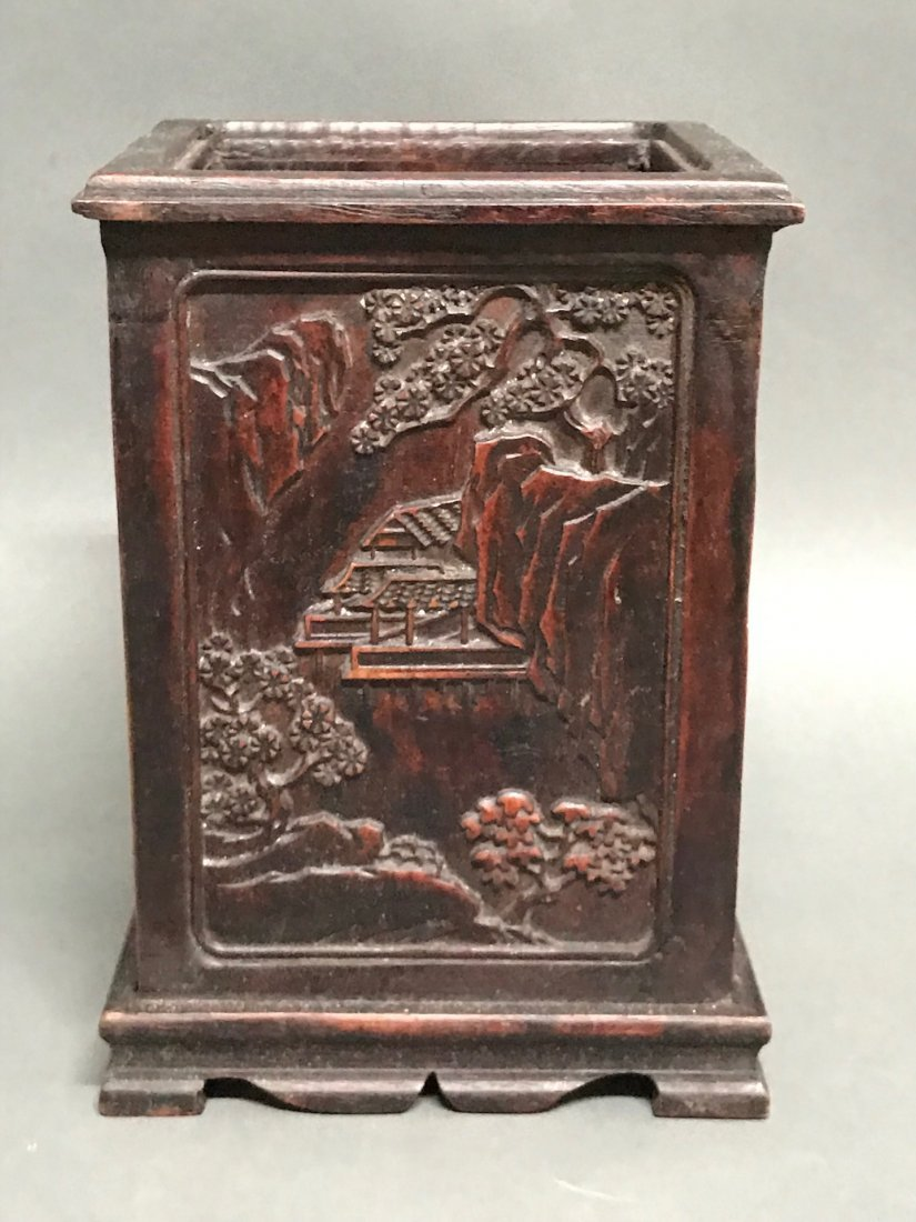 Chinese Carved Wood Brushpot