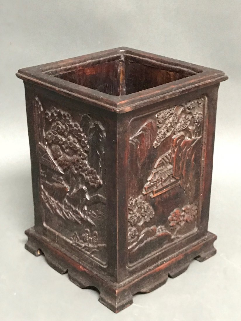 Chinese Carved Wood Brushpot - 3