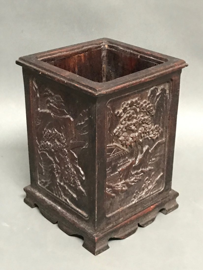 Chinese Carved Wood Brushpot - 4
