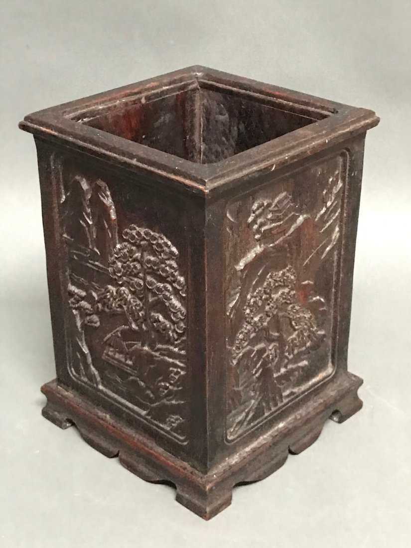 Chinese Carved Wood Brushpot - 5