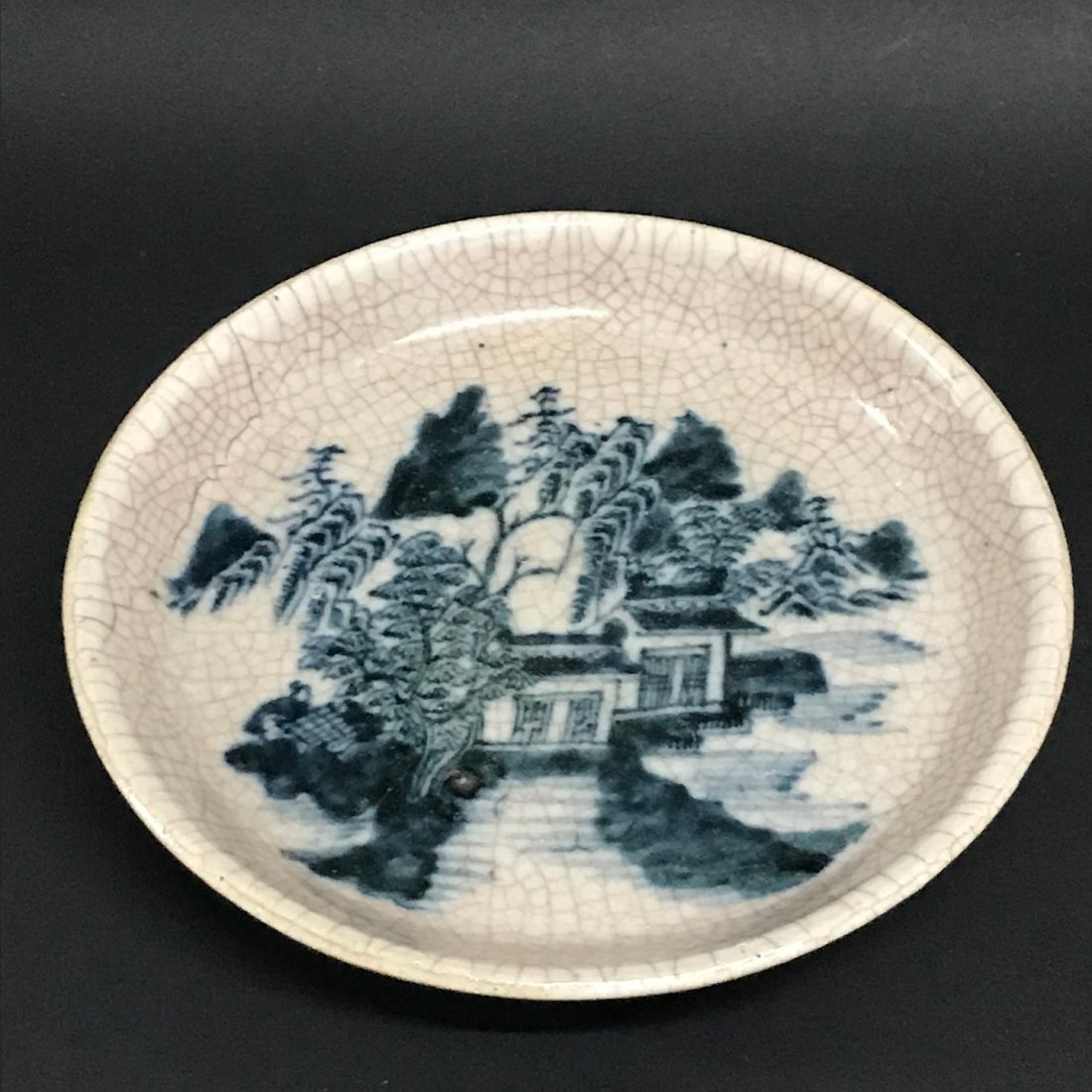 Porcelain Crackled  Blue and White Plate