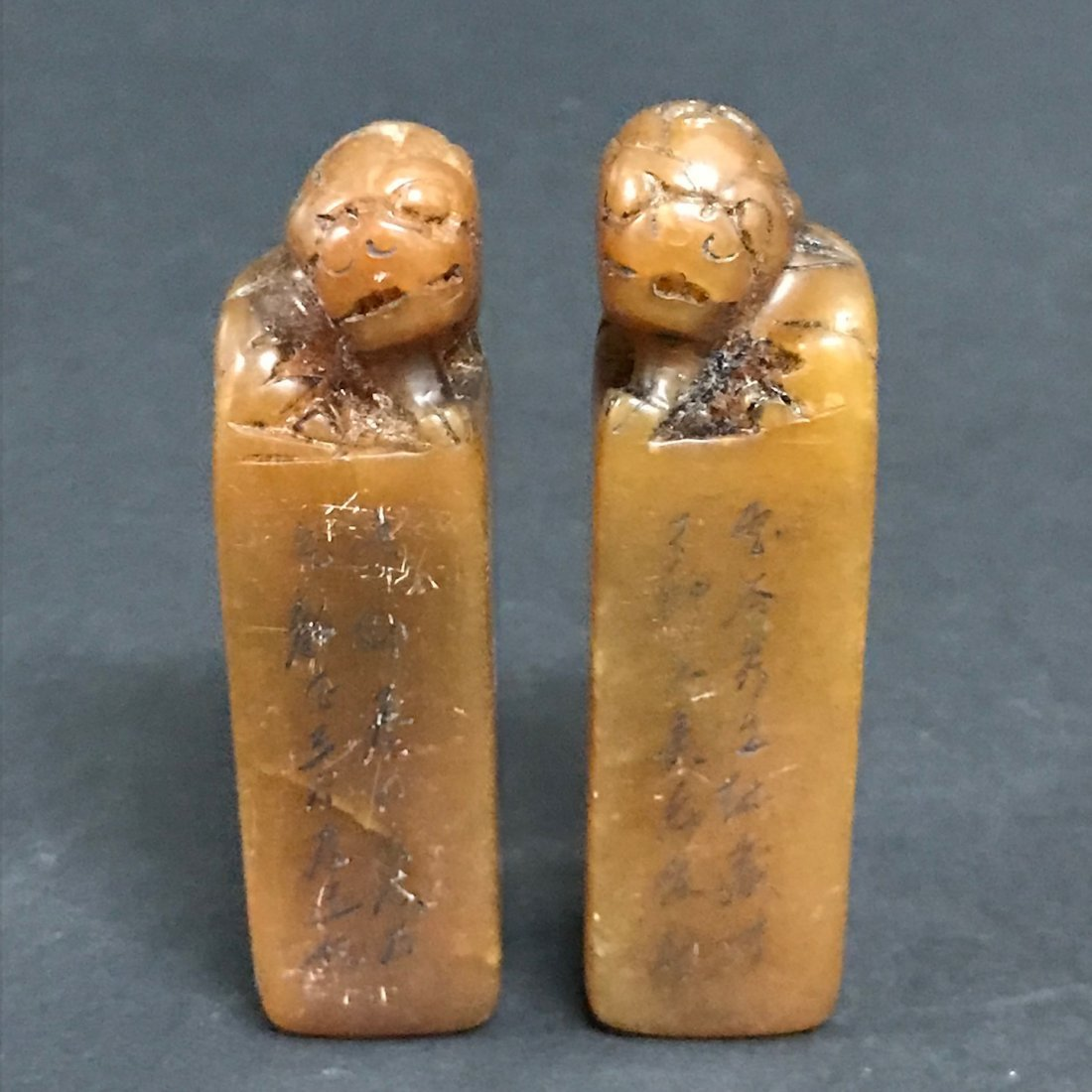Pair of Carved Soapstone Seal - 2