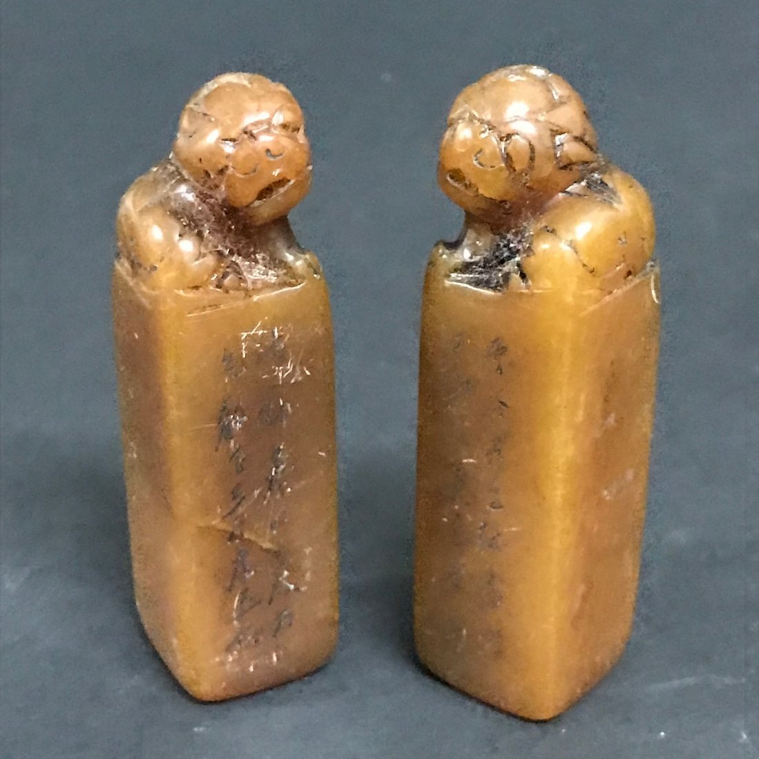 Pair of Carved Soapstone Seal - 3