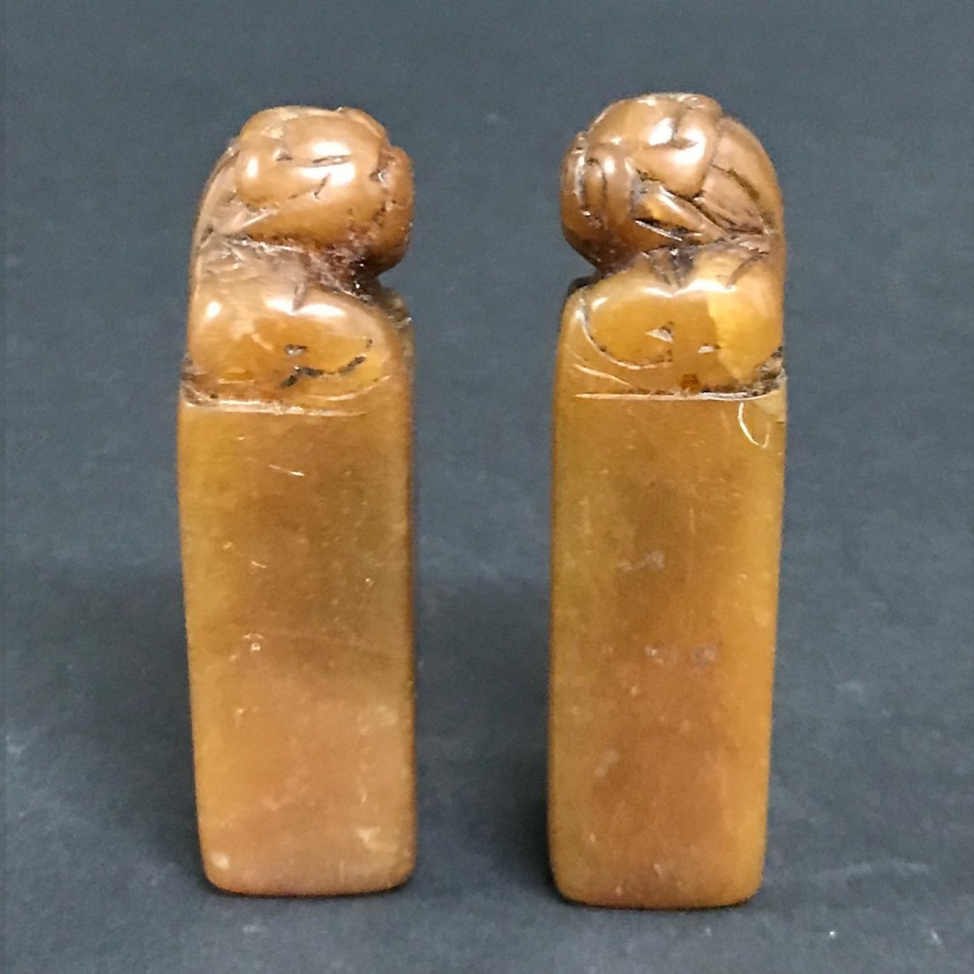 Pair of Carved Soapstone Seal - 4