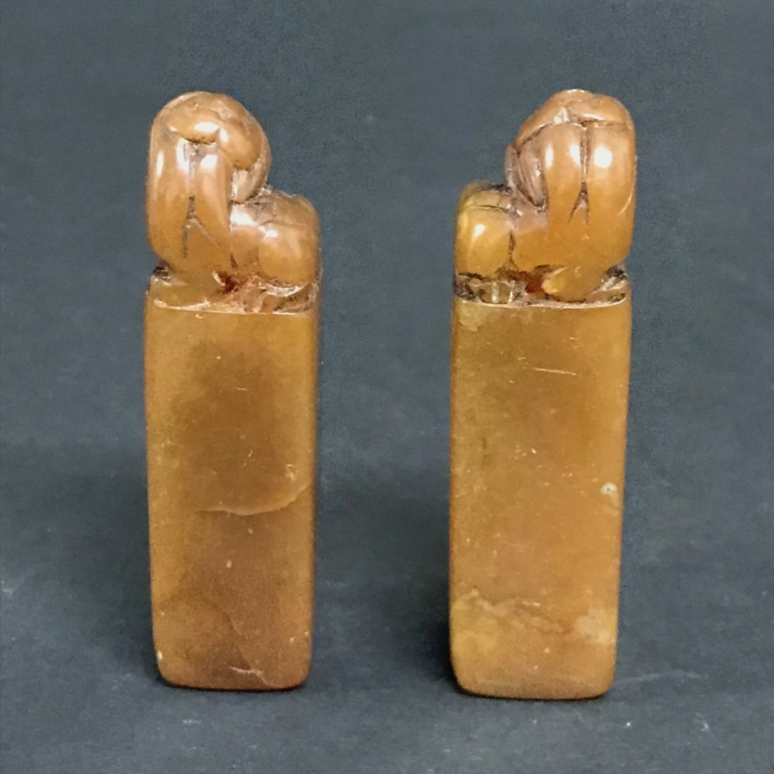 Pair of Carved Soapstone Seal - 5