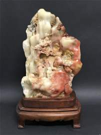 Carved Solid Soapstone Boulder Figure with wooden stand