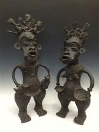 Pair Bronze Bamun Court Jester Statue
