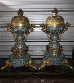 A Rare Pair of Large Cloisonne Enamel Incense Burner