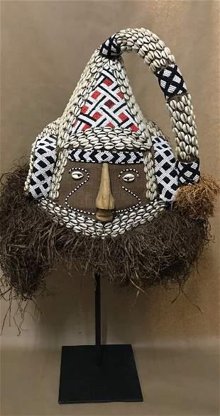 Beaded Kuba Helmet Mask with Metal Stand