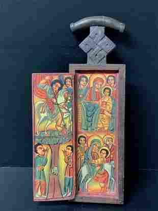 Ethiopian Handpainted Wooden Icon