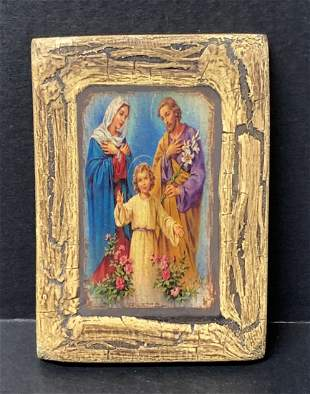 Painted Wooden Icon Holy Family
