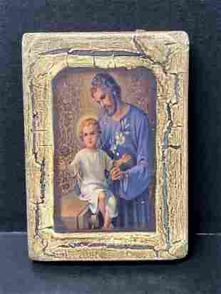 Painted Wooden Icon Jesus and Baby