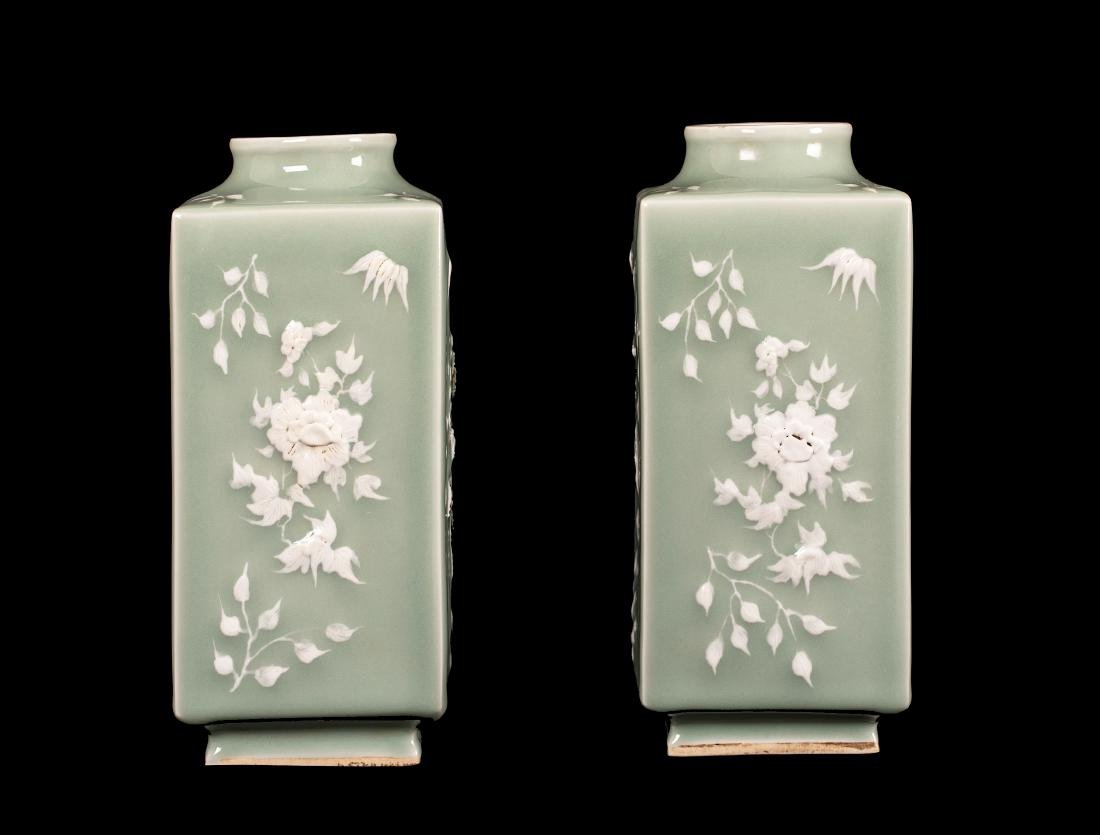 PAIR OF CHINESE CELADON AND WHITE POTTERY SQUARE VASE.