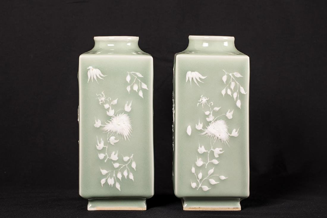 PAIR OF CHINESE CELADON AND WHITE POTTERY SQUARE VASE. - 2